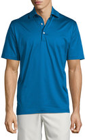 Peter Millar Solid Lisle-Knit Cotton Polo Shirt, Blue
