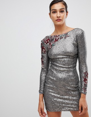 Little Mistress long sleeve all over sequin dress-Brown