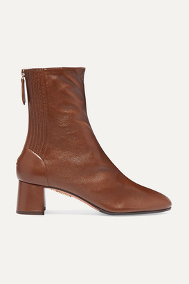 Aquazzura Saint Honore 50 Leather Ankle Boots - Tan