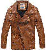 XiaoYouYu Big Boy's Cool Mandarin Collar Motorcycle Zip Jackets US Size 8 Style Dark Grey