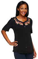 As Is Denim & Co. Button Front Gauze Top with Floral Embroidery
