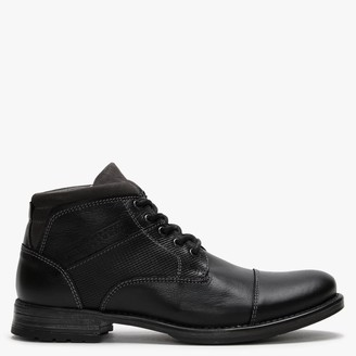 Ottonkern Black Leather Casual Ankle Boots