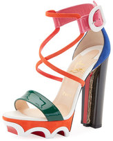 Christian Louboutin Olympika Colorblock Red Sole Sandal, Multi