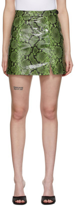 ATTICO Black and Green Leather Ayers Miniskirt