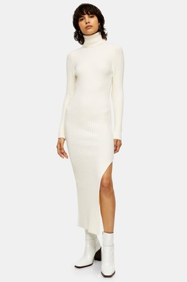 Topshop Womens Ivory Roll Neck Knitted Dress - Ivory
