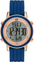 Skechers Womens Blue Silicone Strap Digital Chronograph Watch
