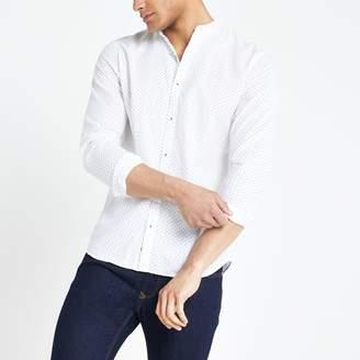 Jack and Jones Mens River Island White print slim fit shirt
