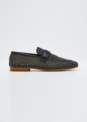 Brunello Cucinelli Monili Leather Laser-Cut Loafers