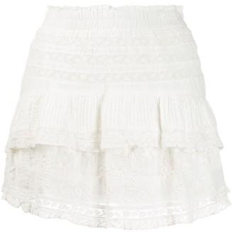 LoveShackFancy Adelia embroidered mini skirt