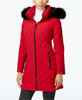 Calvin Klein Faux-Fur-Trim Quilted Water Resistant Down Coat