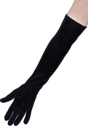 Dents Ladies Long Soft Stretch Velvet Evening Dress Gloves (Claret)