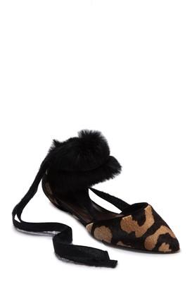 Attilio Giusti Leombruni Genuine Calf Hair & Genuine Rabbit Fur Pointed Toe Strappy Flat