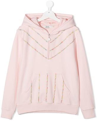 Bonpoint TEEN half-zip floral stripe hoodie