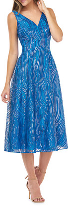 Carmen Marc Valvo V-Neck Novelty Sequin A-Line Dress