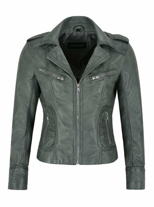 Carrie Ch Hoxton Ladies Real Leather Jacket Grey Napa Slim Fit Classic Casual Fashion Style 9823 (16)