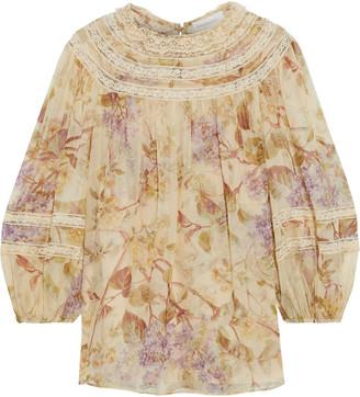 Zimmermann Sabotage Lace-trimmed Floral-print Silk-chiffon Blouse