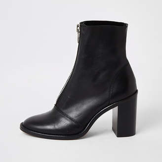 River Island Black leather zip front heeled boots