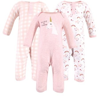 Luvable Friends Baby Girl Cotton Coveralls, 3-Pack
