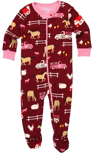 Hatley Footed Coveralls (Infant) (Horse Farm) - Apparel