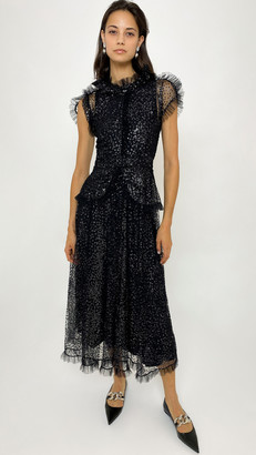 Rodarte Black And Silver Flocked Tulle Dress