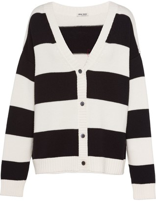 Miu Miu Cat Embroidery Striped Cardigan