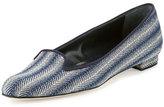 Manolo Blahnik Shari Woven Fabric Loafer, Navy