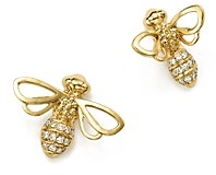 Temple St. Clair 18K Yellow Gold Bee Diamond Stud Earrings