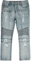 Haus of JR Distressed Biker Jeans-BLUE