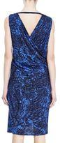 Helmut Lang Resid Print Jersey Crossover Drape Dress
