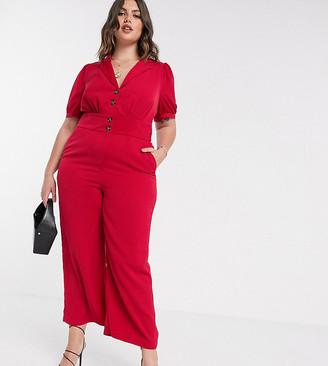 Fashion Union Plus jumpsuit with button detail