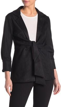 Love Token Front Tie Faux Suede Jacket