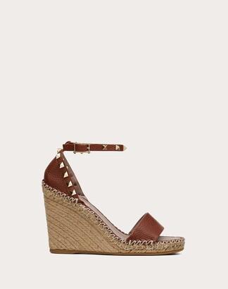 Valentino Garavani Grain Calfskin Leather Rockstud Double Wedge Sandal 95mm Women Brown Calfskin 100% 39