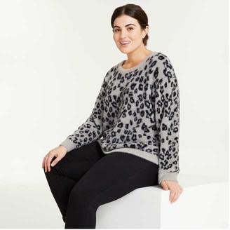 Joe Fresh Women+ Crew Neck Sweater, Black (Size 3X)