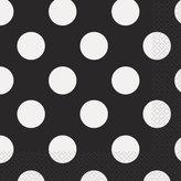 "Polka Dot Party Napkins, 6.5"" x 6.5"", Black, 16 Count"