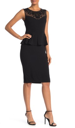 Onyx Nite Peplum Trimmed Illusion Neck Dress