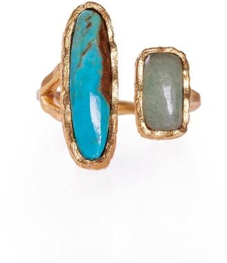 Christina Greene Deco Twin Stone Ring In Turquoise & Aventurine