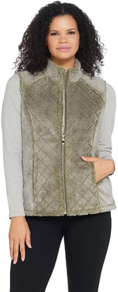 Denim & Co. Active Quilted Zip Front Frosted Sherpa Vest