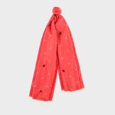 Paul Smith Women's Orange 'Star Spangled' Print Silk Scarf