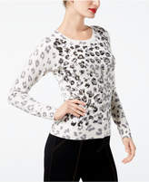 INC International Concepts Embellished Leopard-Print Sweater, Created for Macy's