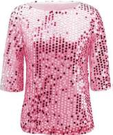 Kuji Women Sequin Sparkle Glitter Tank Cocktail Party Tops Shining T-Shirt Blouses (L, )