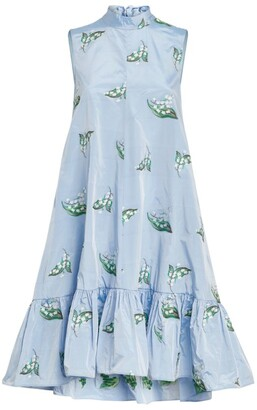 RED Valentino Lily-Embroidered Midi Dress
