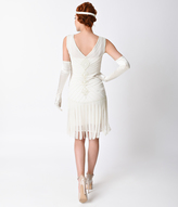 Unique Vintage Deco Ivory Beaded Fringe Aelita Flapper Dress
