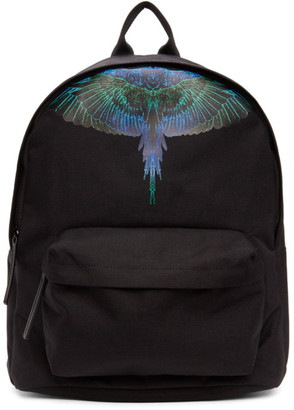 Marcelo Burlon County of Milan Black and Blue Neon Wings Backpack