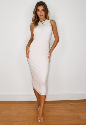 Missguided White Contrast Stitch Midaxi Dress