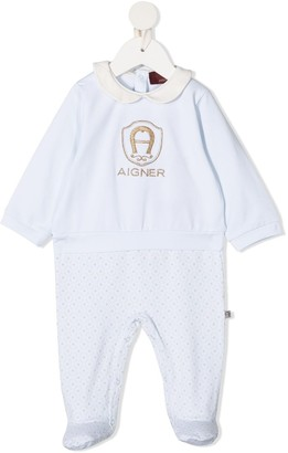 Aigner Kids Embroidered Logo Long-Sleeved Pajama