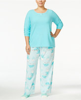 Hue Plus Size Microfleece Pajama Set with Socks