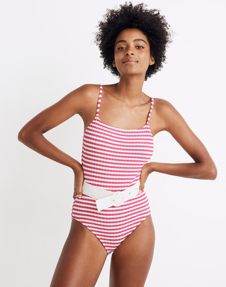 Madewell Solid & Striped Nina Ribbed Belted One-Piece Swimsuit in Fuchsia Stripe