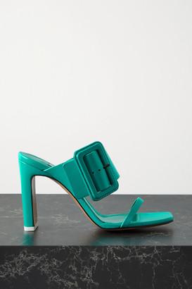 ATTICO Naomi Buckled Leather Mules - Jade