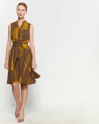 Nanette Lepore Nanette Mustard & Black Sleeveless Pintucked Dress