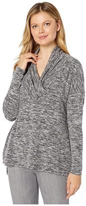 Mod-o-doc Space Dye Sweater Surplice Neck Drop Shoulder Tunic